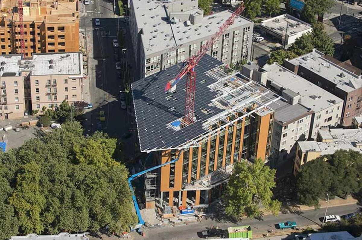 An aerial view of the Bullitt Center, rooftop solar array under construction, September 2012 (Photo: John Stamets)