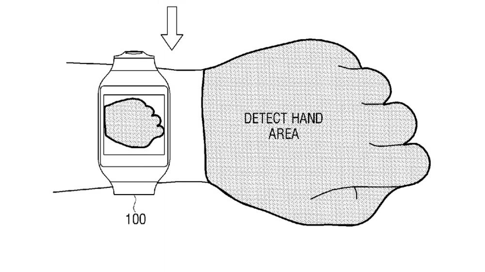 The concept device would be able to scan the back of the user's hand to detect the display area