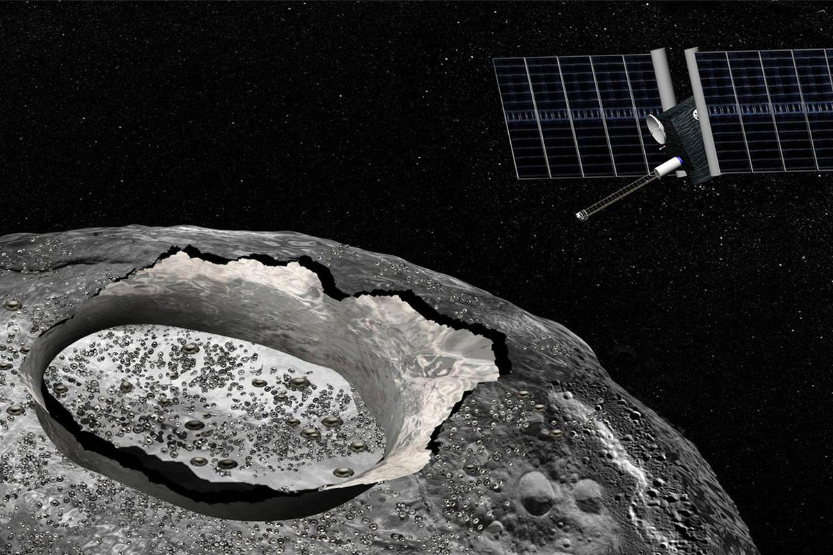 An artist's conception of the Psyche mission