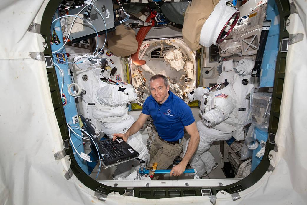 Canadian Space Agency astronaut David Saint-Jacques inside the Harmony module aboard the ISS last month