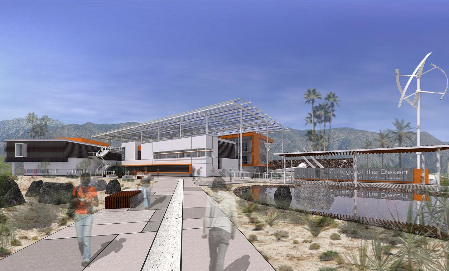 Conceptual image of HGA's Palm Springs campus design (Image copyright HGA Architects and Engineers)