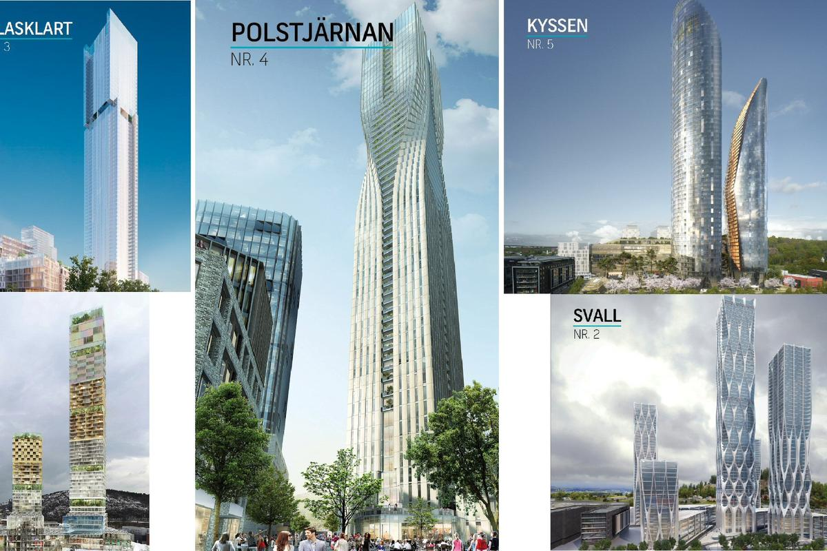 The five shortlisted designs, submitted anonymously, will now go before a jury including members of Gothenberg's city planning department and the project's development company