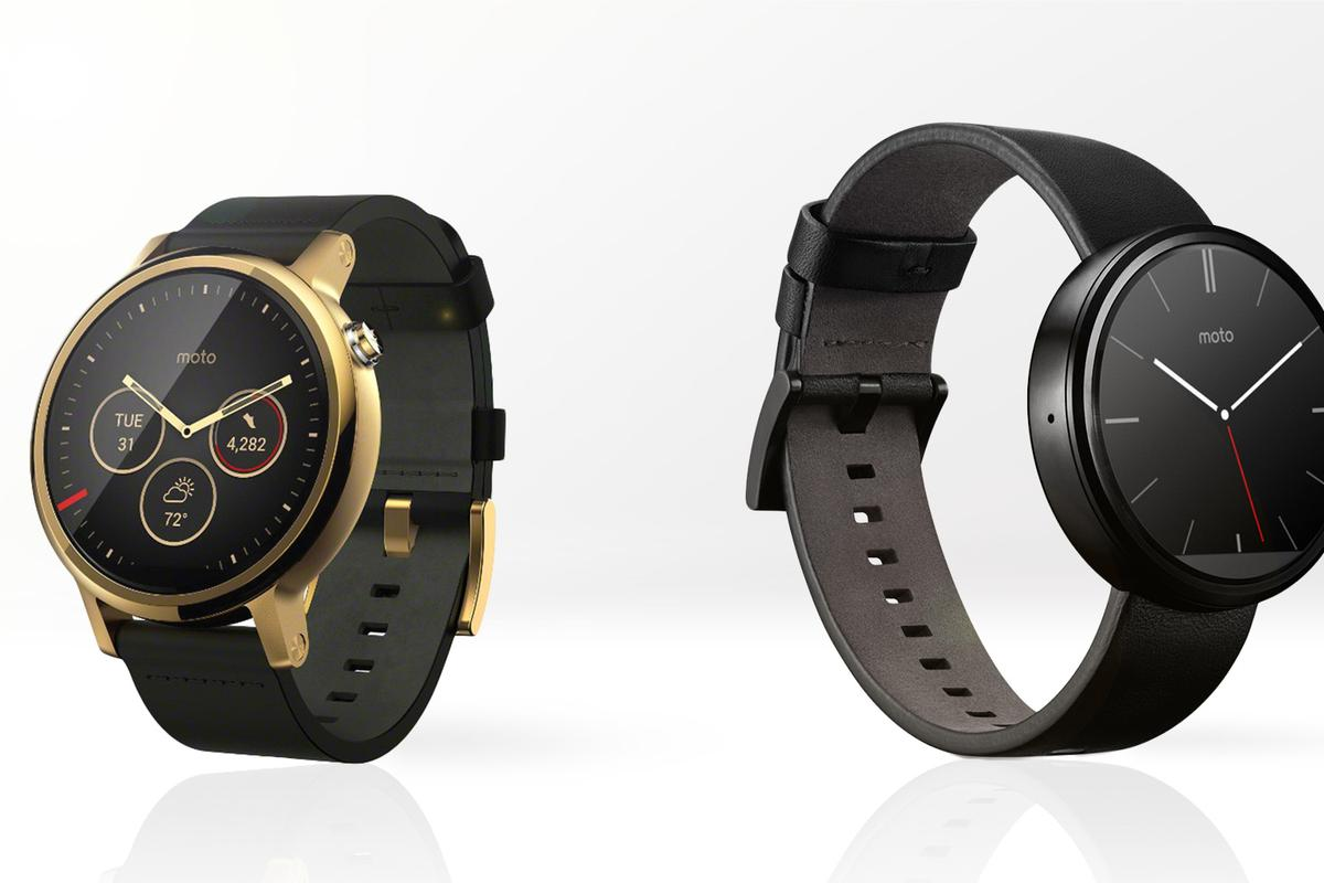 Gizmag compares the features and specs of the 2015 Moto 360 (left) with the original from last year