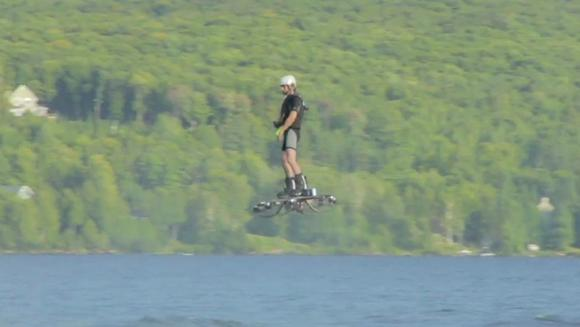 Canadian inventor Catalin Alexandru Duru setting the world record on his self-built hoverboard prototype