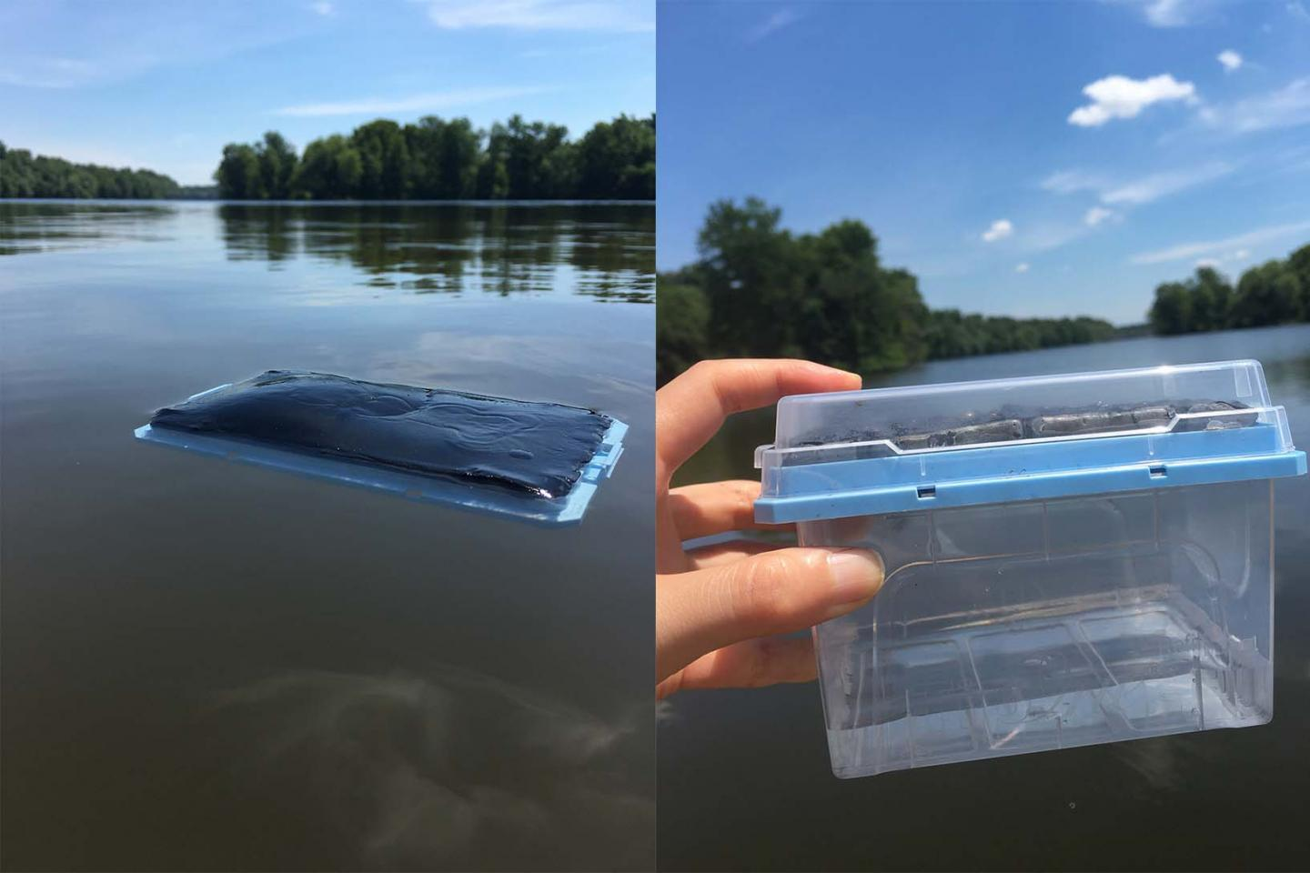 After floating in a lake for an hour, the device discharges drinkable water when heated by sunlight
