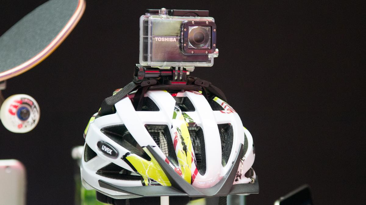 Toshiba's new Camileo X-Sports actioncam, with its included helmet mount
