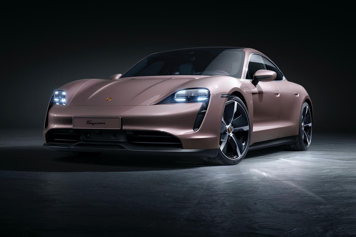 The Porsche Taycan has a range of 431 km (268 mi) with its standard battery, or 484 km (301 mi) with an upgrade
