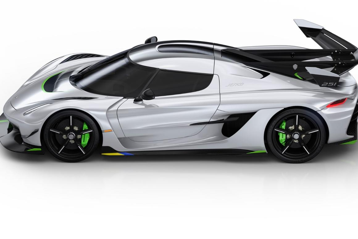 A massive reverse-boomerang rear wing and squashed motorcycle helmet cabin are the Jesko's design signatures