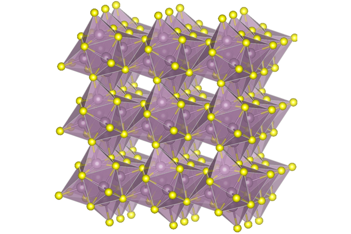 The molecular structure of molybdenum sulfide, one of the materials in the new lithium-sulfur batterycathode