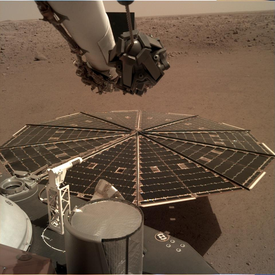 View from Mars InSight's Instrument Deployment Camera