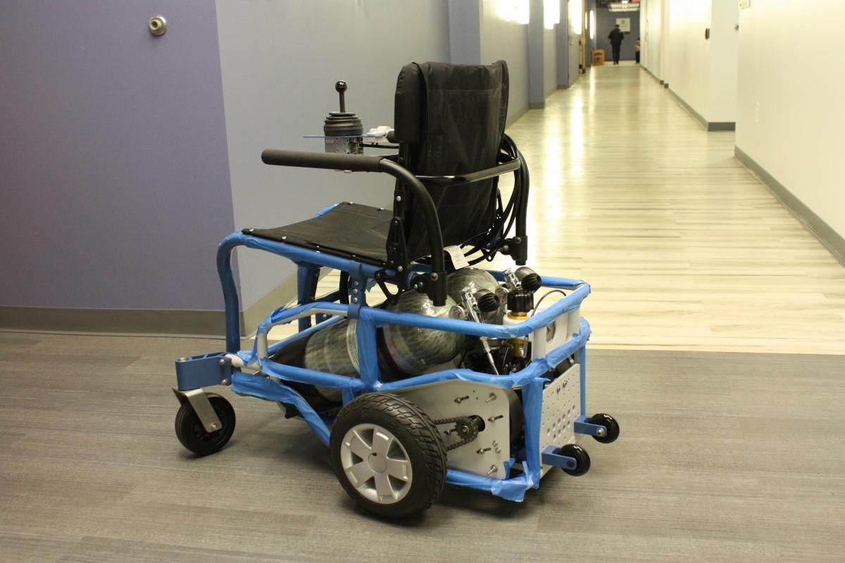 The PneuChair has a range of only about three miles, but takes just 10 minutes to recharge