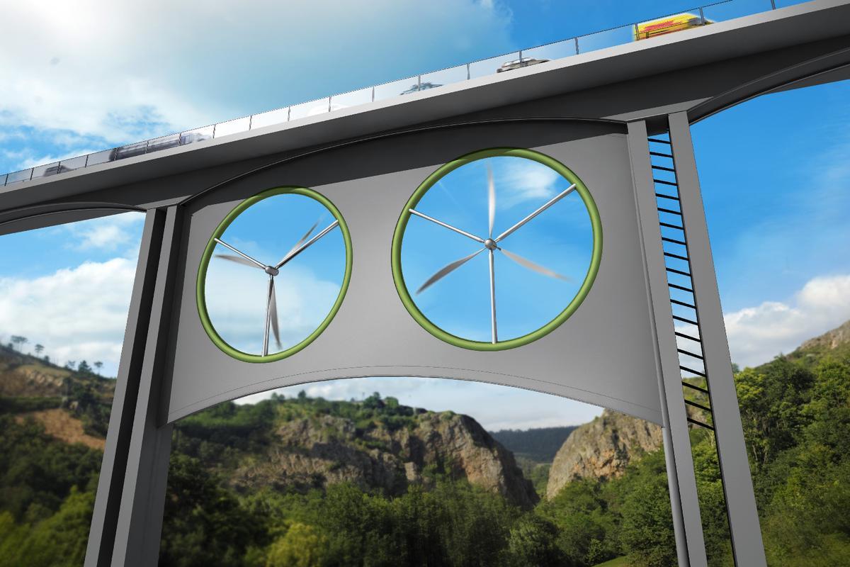 An artist's take on how wind turbines underneath bridges might look