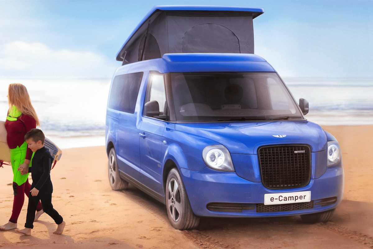 The LEVC e-Camper combines classic looks, cutting-edge plug-in power and a comfy camper interior
