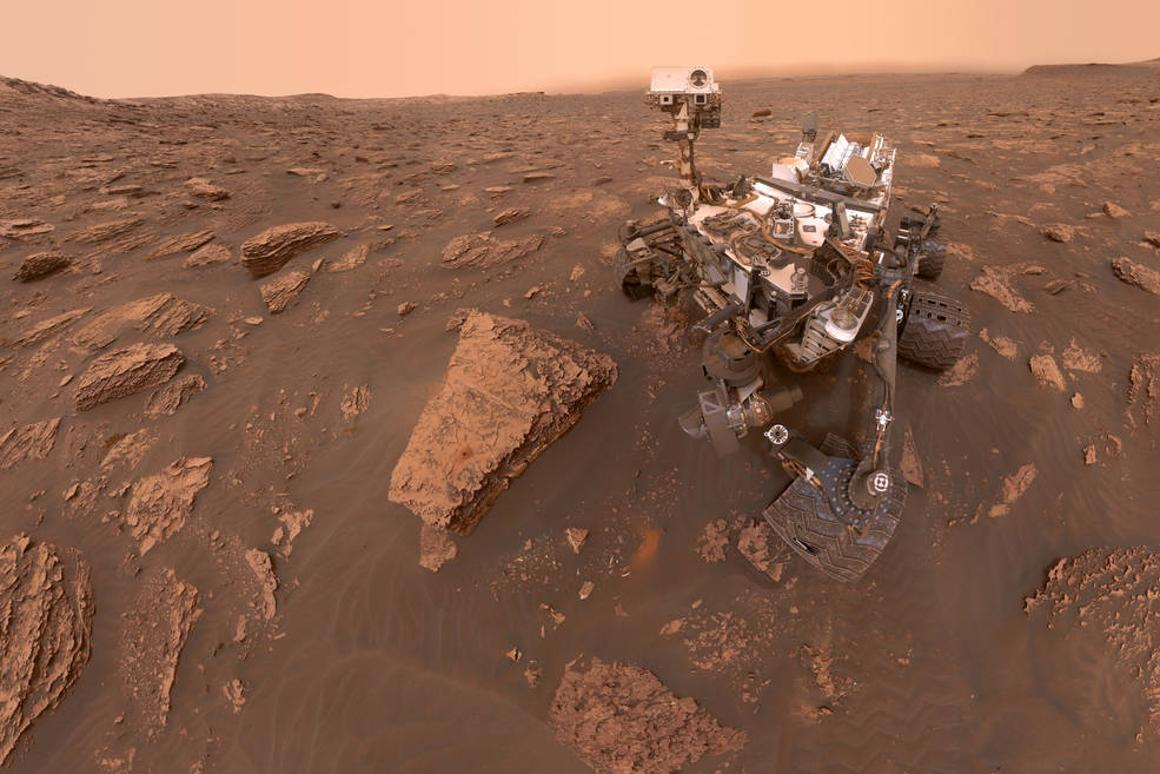 A self-portrait taken by the Curiosity rover shortly before the dust storm arrived