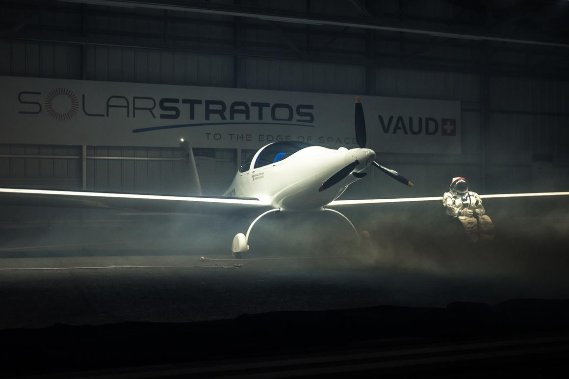 The SolarStratos plane and operational hangar were unveiled at an event in Payerne, Switzerland, on December 7