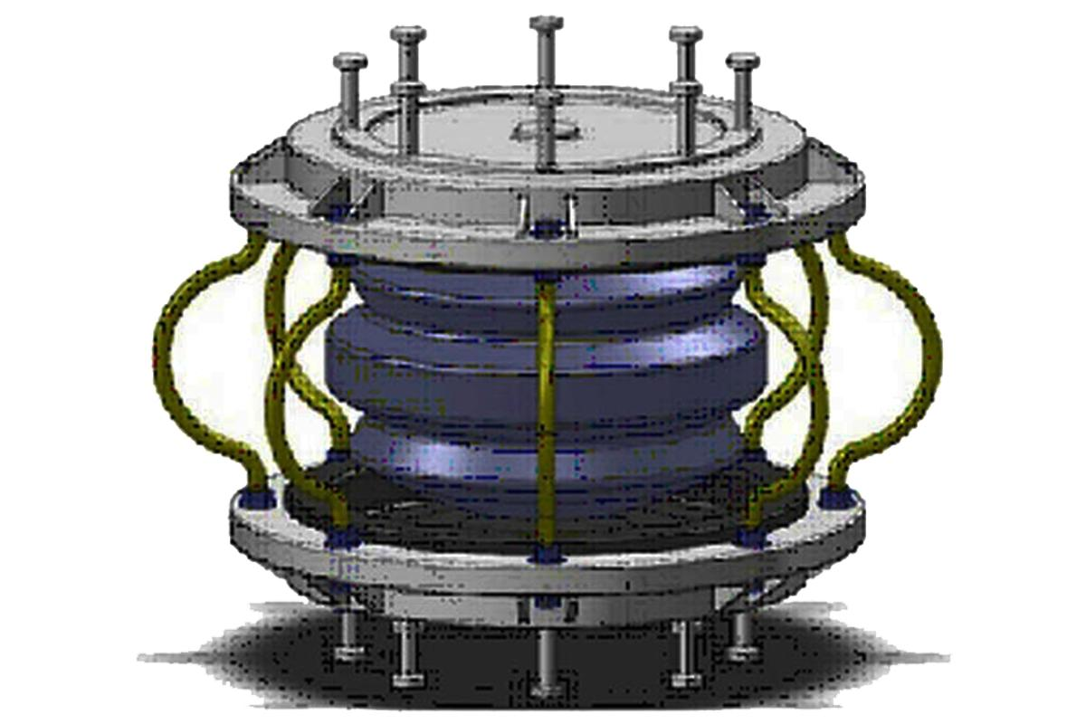 The roll-n-cage (RNC) is an anti-vibration device that is designed to sit between the building and the ground to reduce the effects of an earthquake