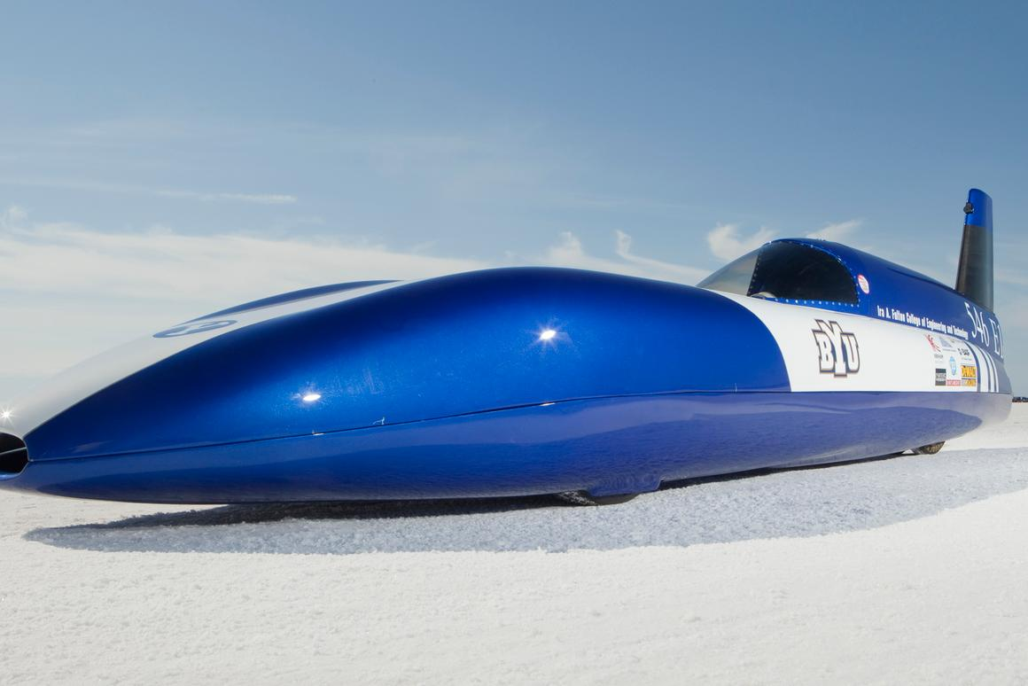 """The Electric Blue streamliner built by BYU students now holds the world land speed record in the """"E1"""" class"""
