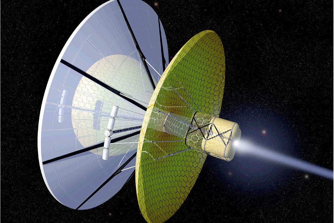 X-ray pulsars could help interstellar spaceships like this Bussard ramjet to navigate (Image: NASA)