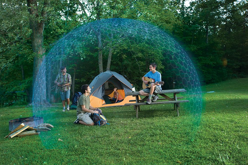 Thermacell repellent products create a protectivezone around your patio, camp or picnic table, keeping mosquitoes away