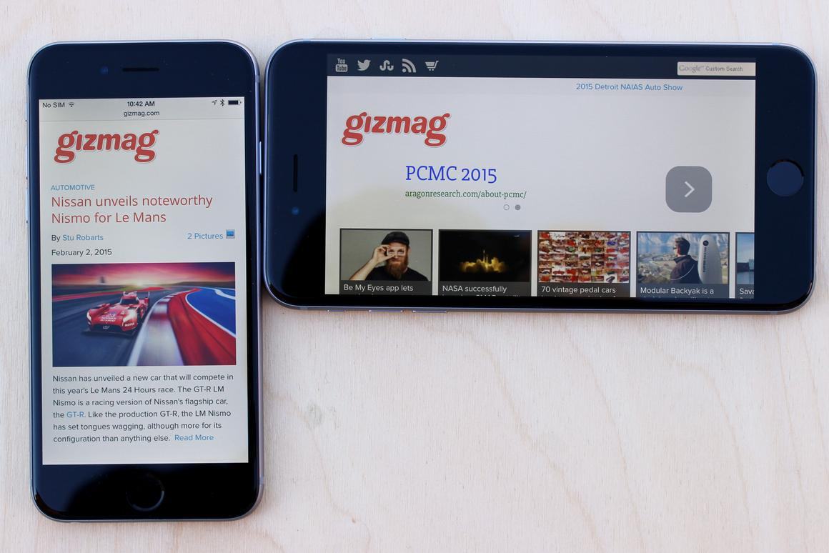 Gizmag goes hands-on to compare the iPhone 6 (left) and larger iPhone 6 Plus (Photo: Will Shanklin/Gizmag.com)