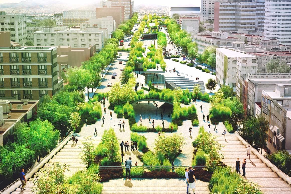 A main pedestrian promenade will run along the center of the avenue