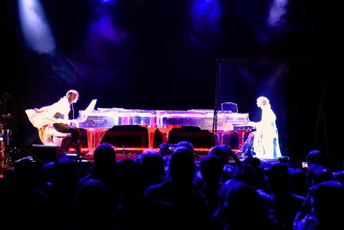 Yoshiki impressed attendees at SXSW festival by engaging in a piano battle with a hologram of himself