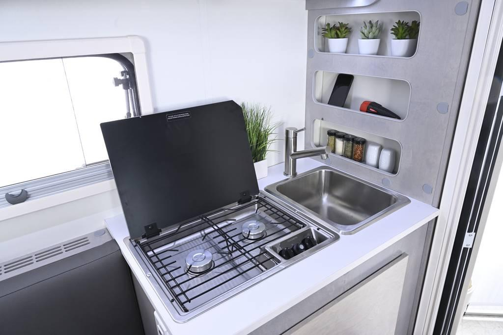 The Cirrus 620 kitchen block is compact but functional