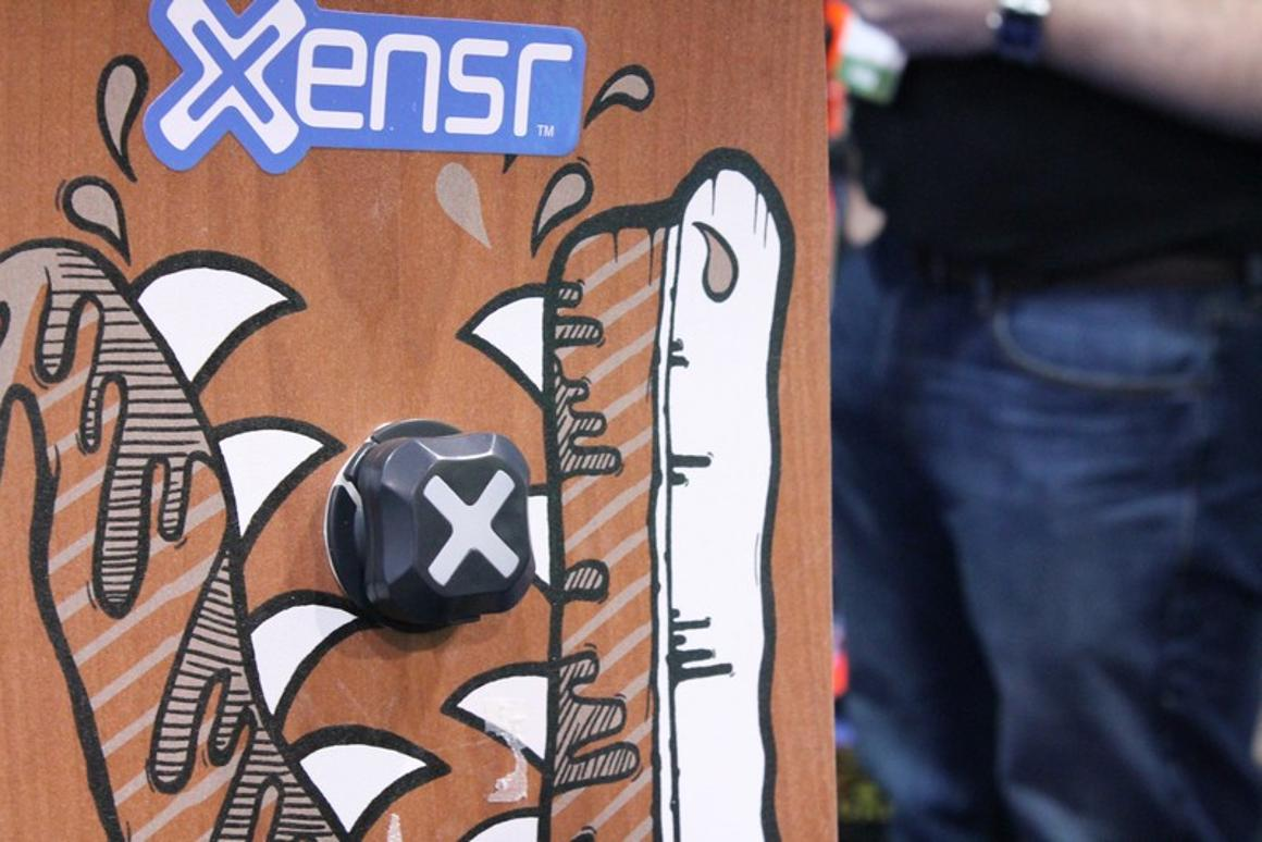 The square-shaped XsensrAir is designed to track extreme athlete's performance as the flip, spin and jump through the air (Photo: Eric Mack/Gizmag.com)