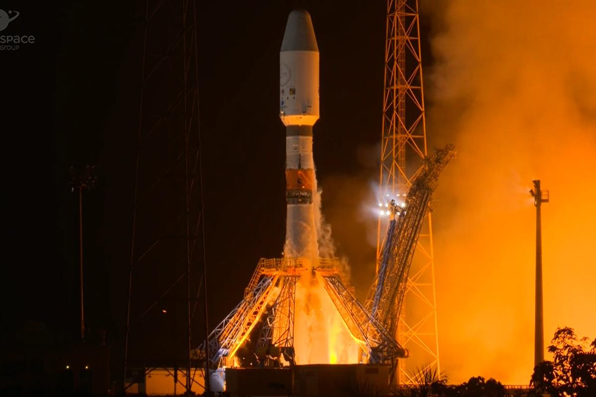 Cheops's Soyuz-Fregat rocket lifting off from ESA's spaceport in French Guiana