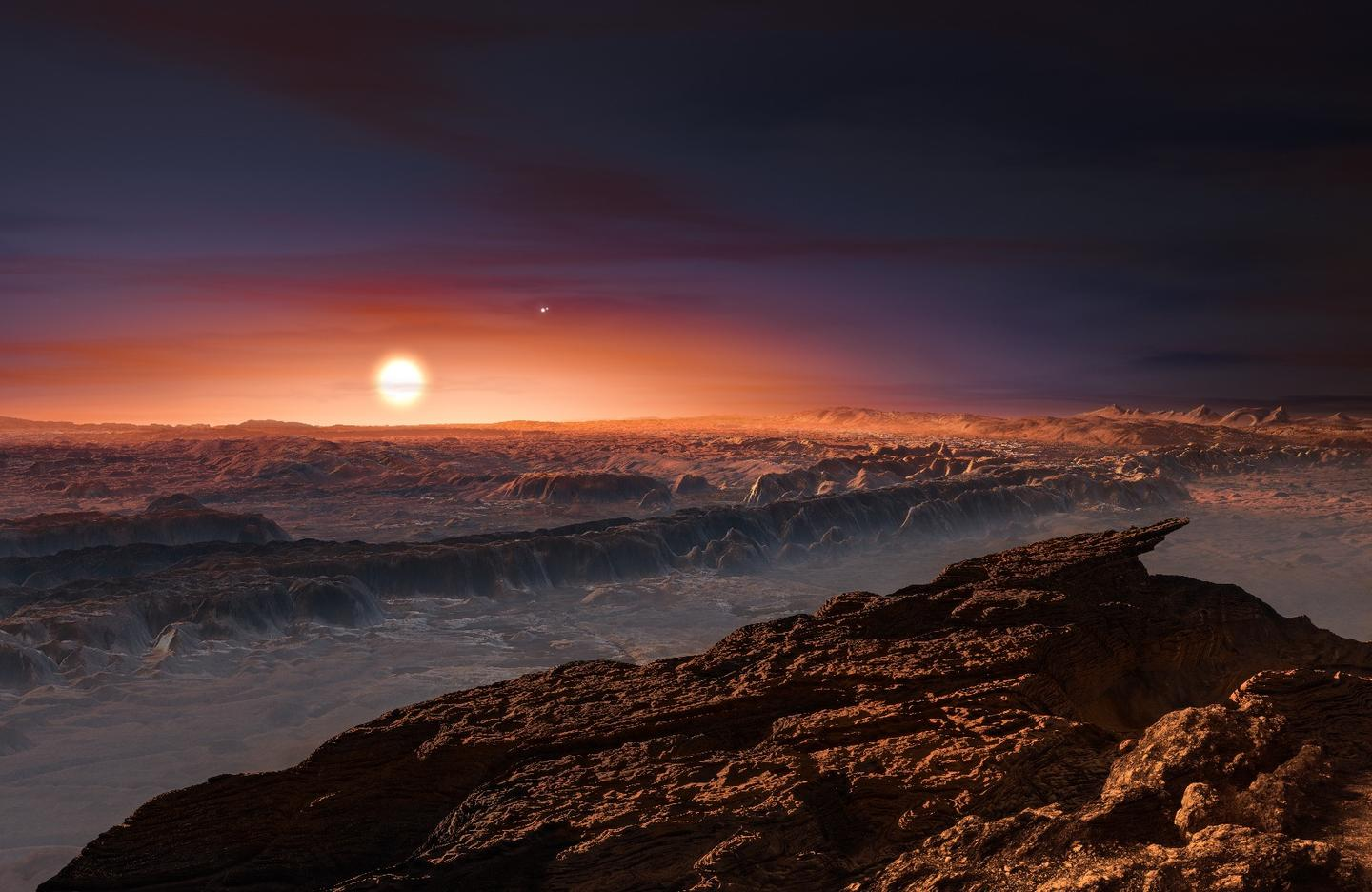 Artists impression of the view from the surface of Proxima b