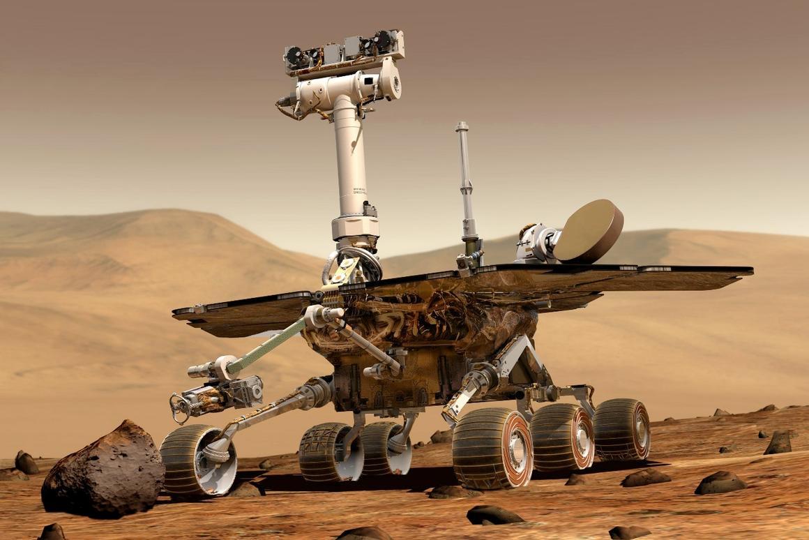 Artist's impression of NASA's Spirit rover on Mars