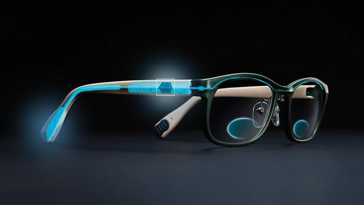 TouchFocus areelectronically adaptive eyeglasses that switch to reading glasses at the touch of a button