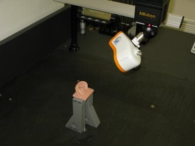 A model ear being scanned to create the HATS simulation