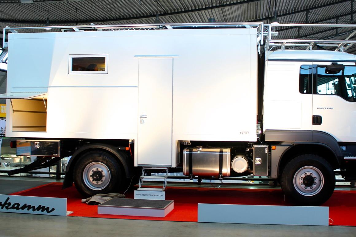 Kerkamm shows one of the larger expedition vehicles at CMT, the EX 525