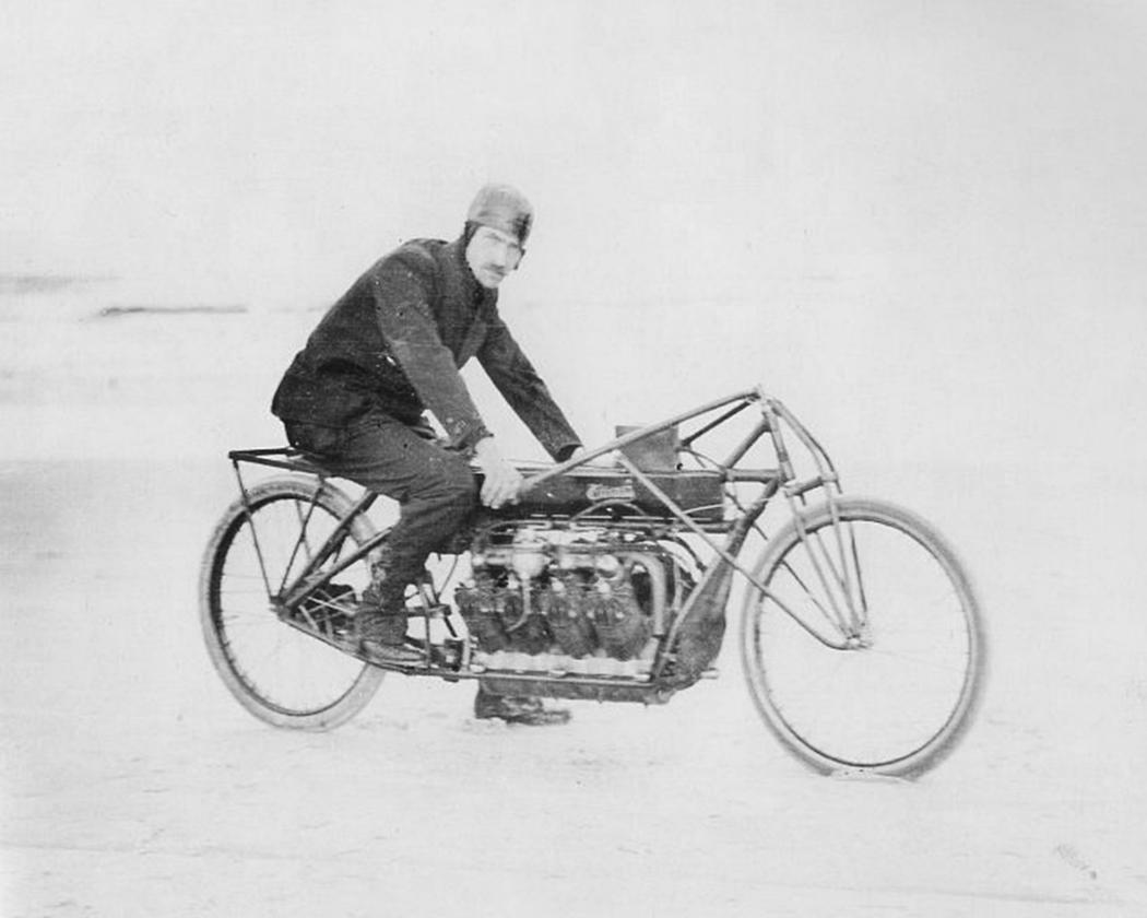 Glenn Curtiss on the humungous home-made V8 motorcycle with which he set a land speed record in 1907