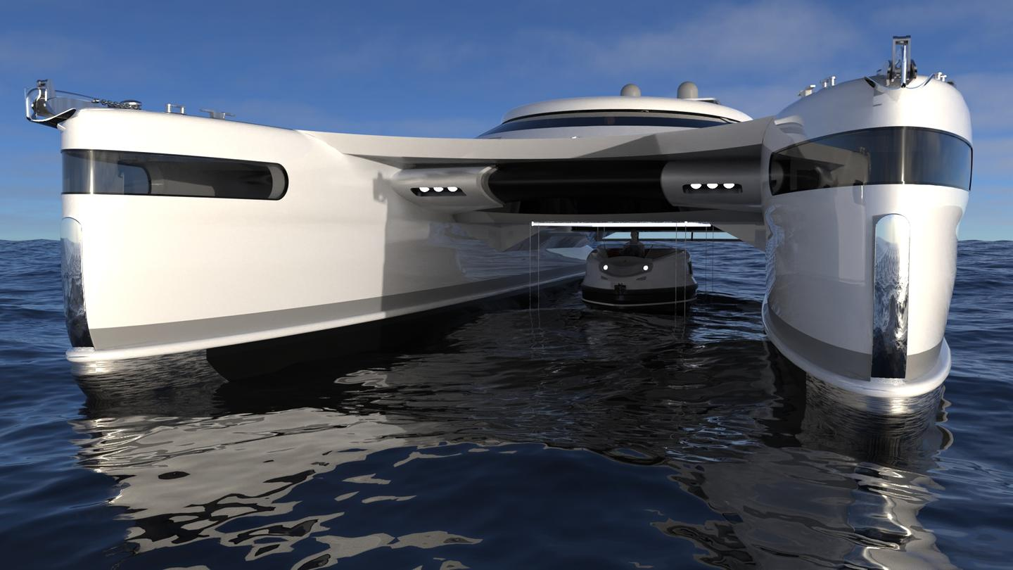 "Renowned Italian yacht design firm Lazzarini has unveiled designs for a solar-powered amphibious ""crabmaran"""