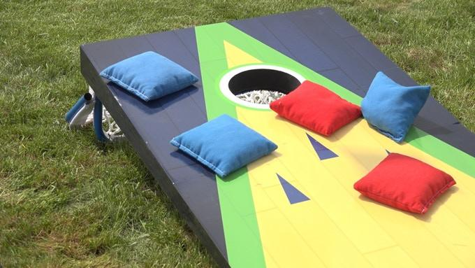 Flop Shot: One side features the standard cornhole game-play