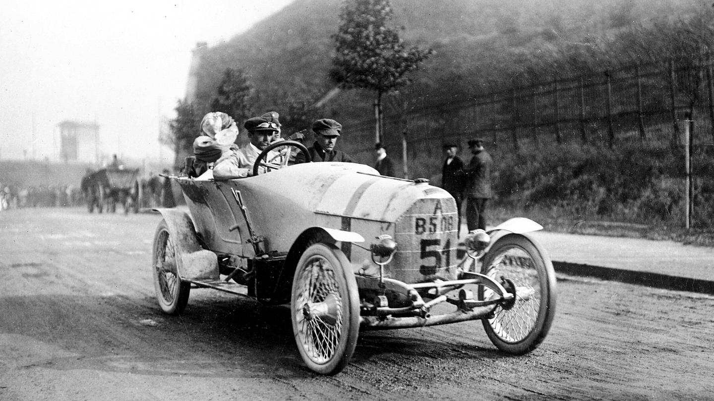 The Austro-Daimler Prinz Heinrich winning the Prinz Heinrich Fahrt of 1910 with a 34-year-old Ferdinand Porsche behind the wheel.