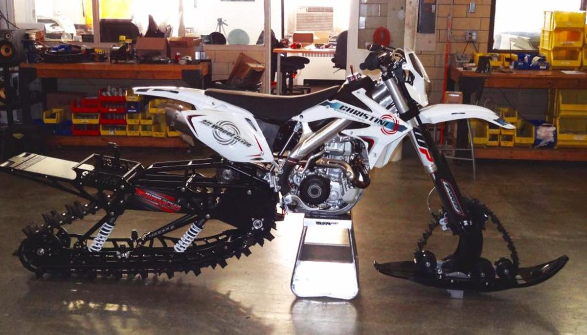 Christini's II-Track Snow Bike system, ready to roll