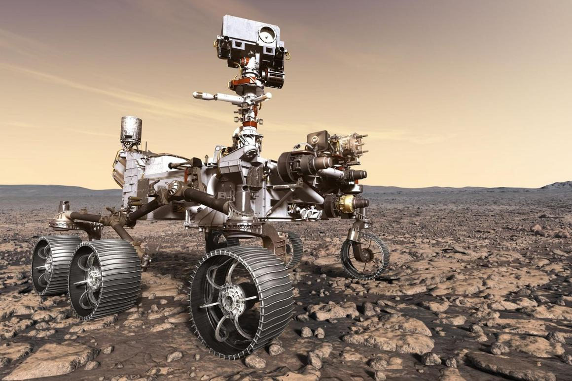Artist's impression of the Mars 2020 rover on the surface of the Red Planet