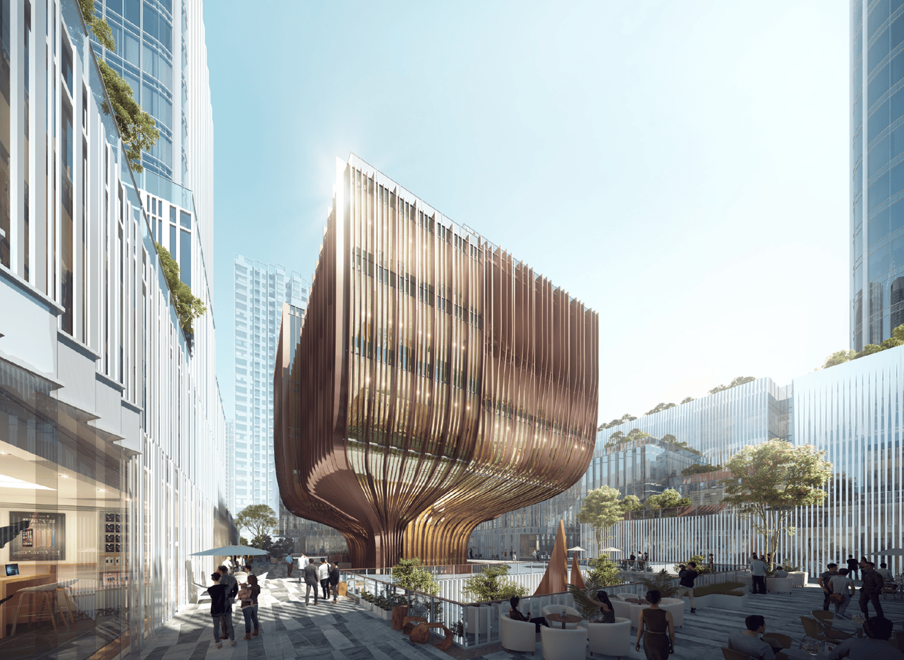 The New Pingshan Eye development will include a green-roofed multipurpose cultural building