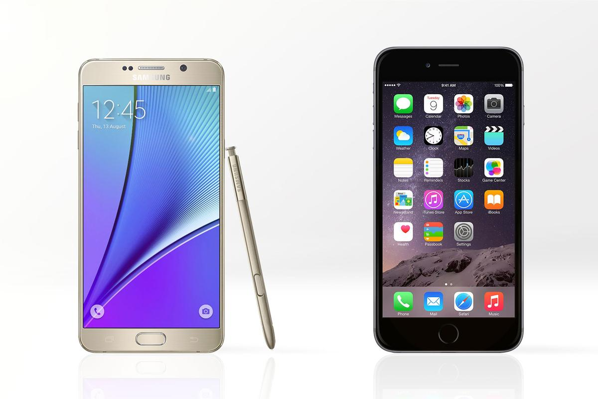 Gizmag compares the features and specs of the Samsung Galaxy Note 5 (left) and Apple iPhone 6 Plus