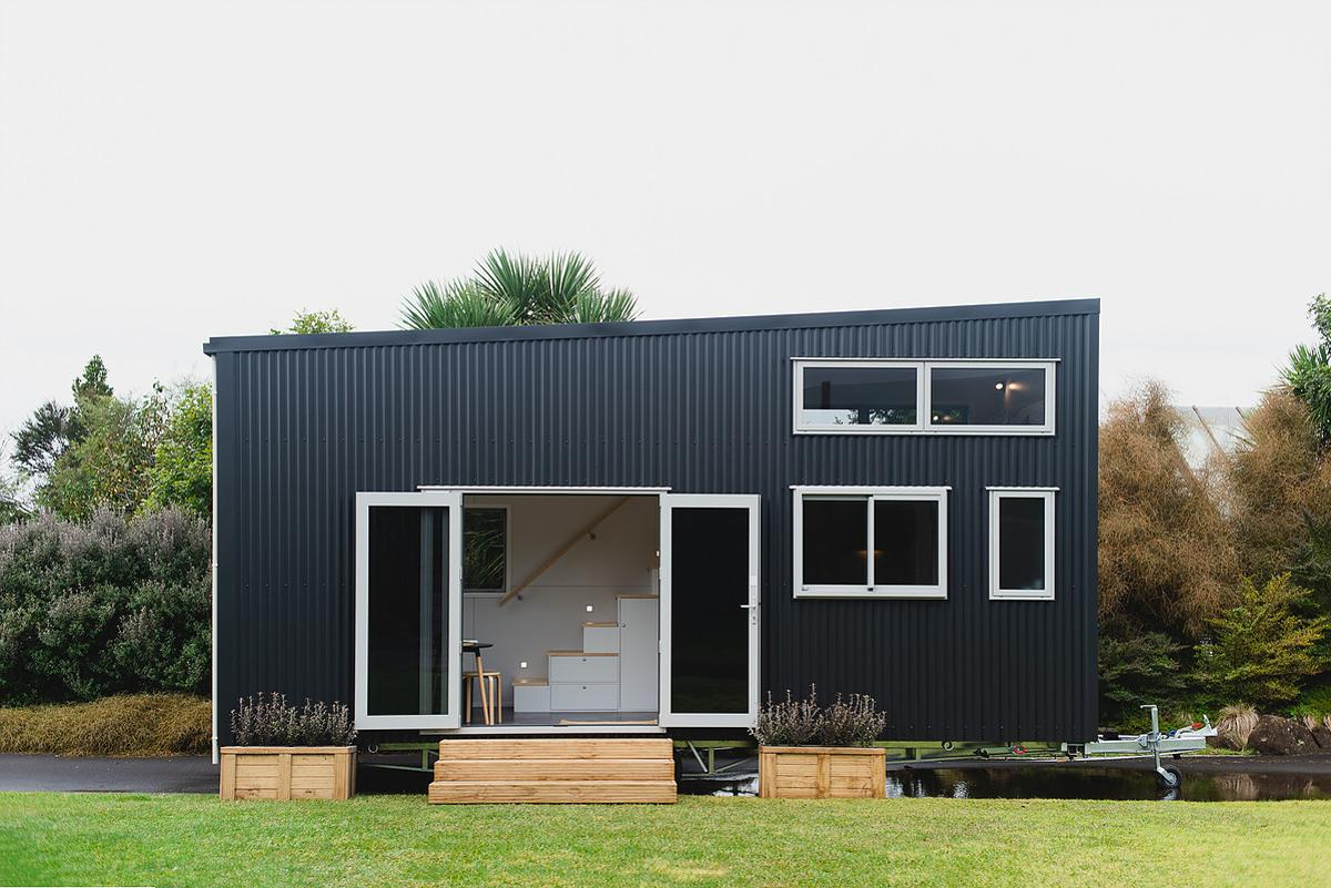The Buster Tiny House can be optionally upgraded to run off-the-grid with a solar power setup