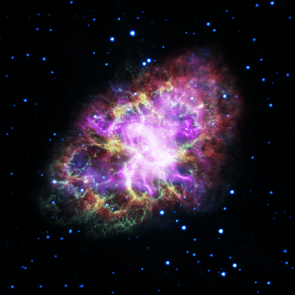 Surpernovae leave behind fallout clouds, like the Crab Nebula