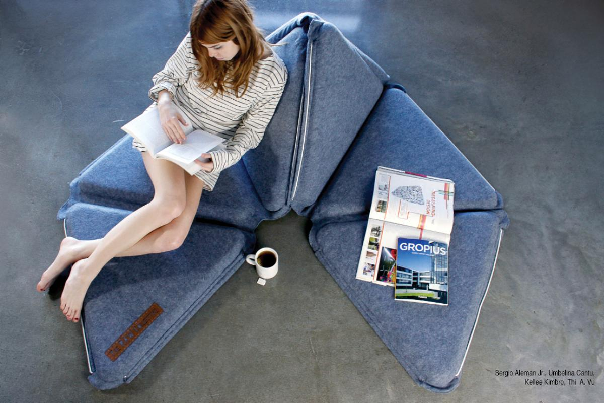 The Viera is mat of cushioned equilateral triangles that fold to form multiple types of comfortable furniture