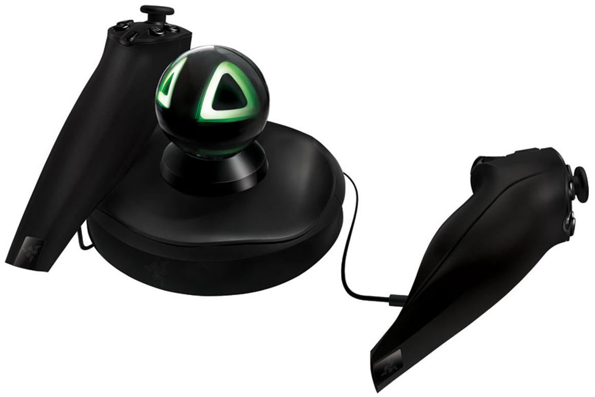 The Razer Hydra base station and two motion sensing controllers
