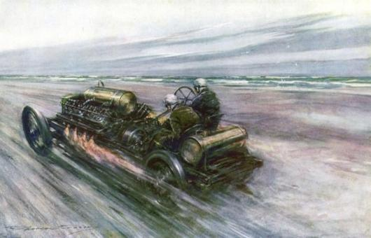 """This painting by F.Crosby-Nash was commisiioned by 'Autocar' and captioned 'The famous """"200"""" Darracq with which Sir Algernon Guinness, Bart., achieved 120mph in 1908'"""