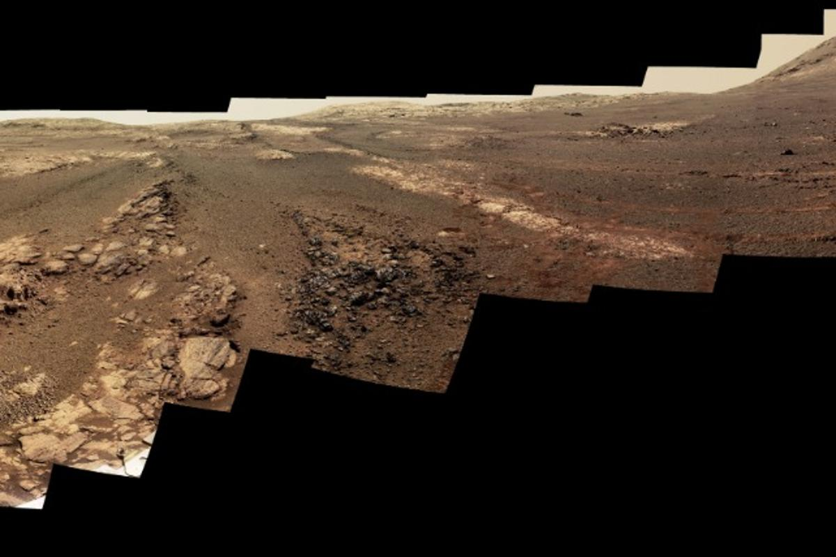 Among Opportunity's final data is a near-true color, 360-degree panorama of the area around what would become the rover's final resting place