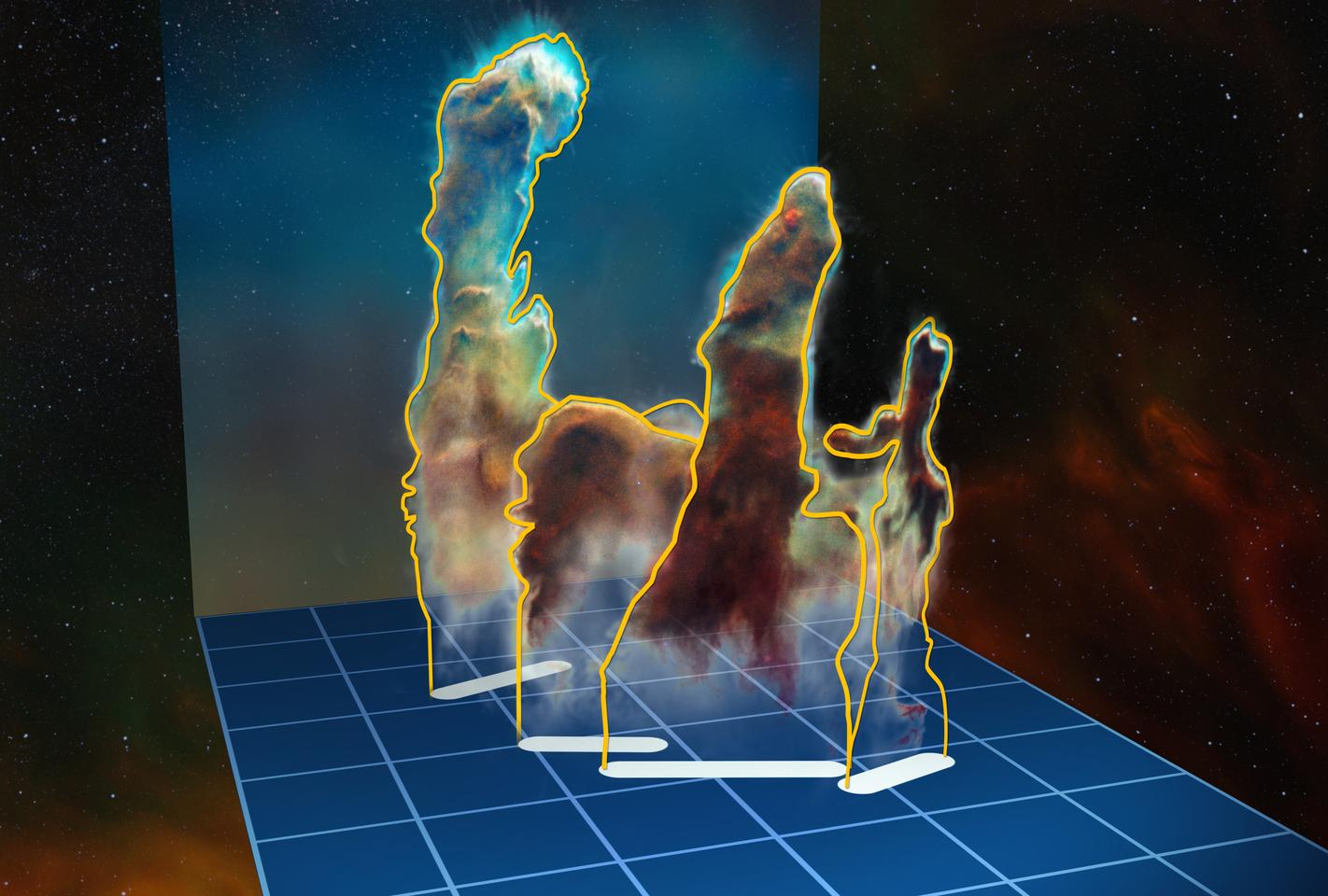3D visualization of the structure of the iconic Pillars of Creation, constructed from data collected by MUSE and the VLT (Image: ESO, M. Kornmesser)