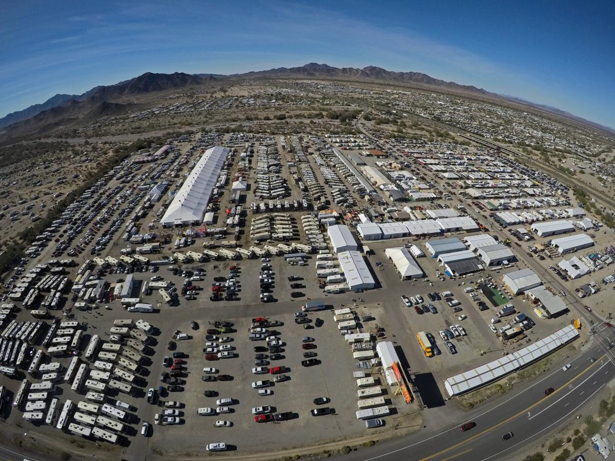 Every year, the biggest congregation of RV's, travel trailers, snowbirds, overlanders, and off-road enthusiasts happen to all converge in the tiny, dusty town of Quartzite, Arizona -between 750,000 and 1 million of them!